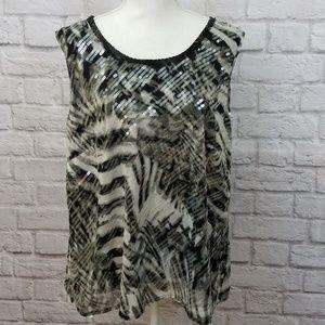 Vince Camuto Black & White Print Blouse Sequins 2X